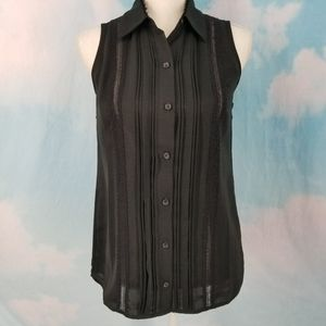 CAbi Black Button Down Jagger Blouse #3266
